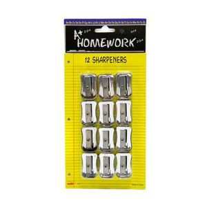 Pencil Sharpeners - 12 pack - silver plastic