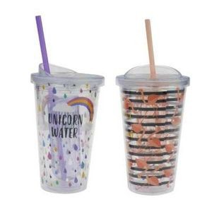 160z Double Wall Plastic Bottle with Straw - Assorted