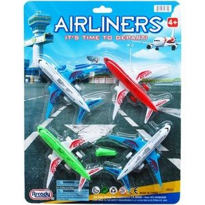 4 Piece Free Wheel Action Airliners