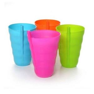 Plastic Cups with Straw - 4 Colors
