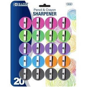 Bazic Round Pencil Sharpener - 20/Pack