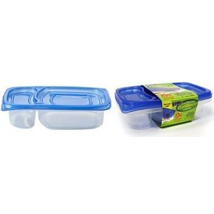 29 oz. Rectangular 2 Compartment Tab Lid Storage Container 2-Packs - N