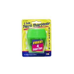 Pencil Sharpener,2 Hole with Eraser Caps, Assorted Colors, 12 Cards/Di
