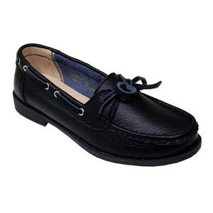 Women's Black Leather Moccasins with Bow