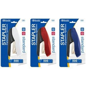BAZIC Two Tone Standard (26/6) Stapler w/ 500 Ct. Staples (Case of 24)