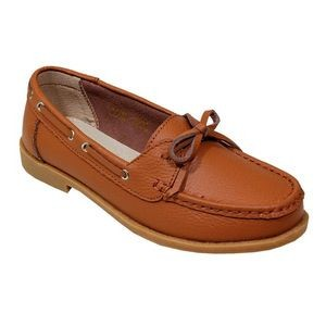 Women's Light Brown Leather Moccasins with Bow