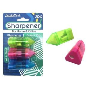 Pencil Sharpener with Eraser Tip (3 Piece)