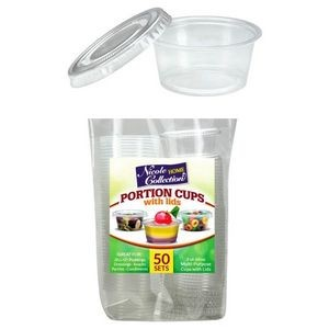 2 oz. Portion Cups with Lids - Clear - 50 Sets - Nicole Home Collectio