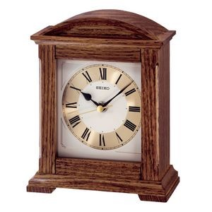 Seiko QXG123B Wooden Mantel Desk Clock