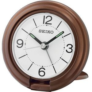 Seiko QHT012B Travel Alarm Clock - Brown