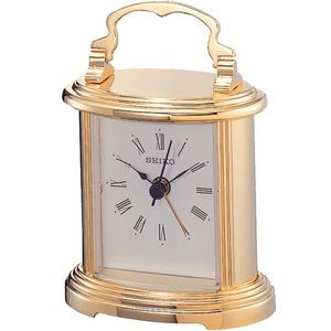 Seiko QHE109G Carriage Table Alarm Clock - Gold