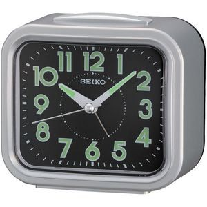 Seiko QHK023S Beside Alarm Clock - Silver & Black