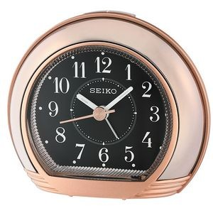 Seiko QHE178A Desk Alarm Clock - Rose Gold & Black