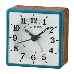 Seiko QHE175L Desk Alarm Clock - White & Blue