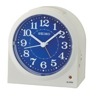 Seiko QHE179W Desk Alarm Clock - White & Blue