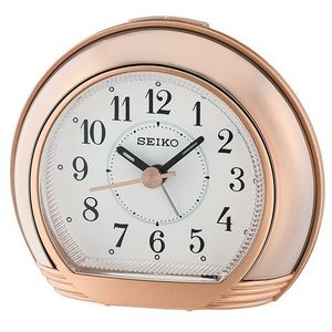 Seiko QHE178P Desk Alarm Clock - Rose Gold & White