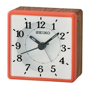 Seiko QHE175R Desk Alarm Clock - White & Orange