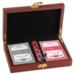 Custom Poker Card and Dice Gift Set, Rosewood Finish, 7 1/2