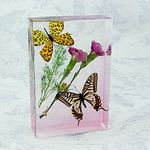Custom Lucite Paperweight with Real Butterfly, 5.31 x 3.86 x 1.18