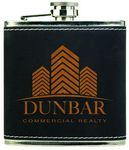 Custom Stainless Steel Flask with Light Black Faux Leather, 6 oz