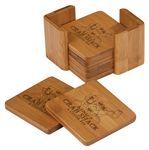 Custom Bamboo Square 6 Coaster Set with Holder, 3 3/4