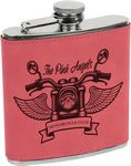 Custom Stainless Steel Flask with Pink Faux Leather, 6 oz