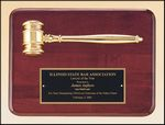 Custom Rosewood plaque with gold metal gavel, 9 x 12