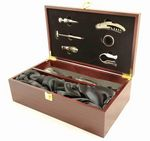 Custom Rosewood Finish Wine Presentation Box Gift Set with two wine glasses and tools