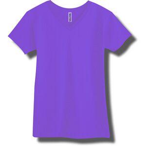 Neon purple adult fine jersey v neck t shirt ntvnadpu for Bright purple t shirt