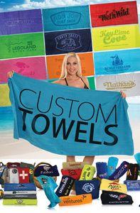 30x60 Promotional Terry Velour Beach Towel/ 11 lb per doz.