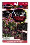Custom Scratch Art Color-Reveal Butterflies & Flowers Picture