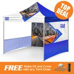 Custom Summer Special Price Bundle 10x10 Promo Tent w/walls & Rail skirts