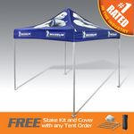 Custom The Best Pop Up Canopy Tent in the Promo Industry- Ultra Strong and Durable Aluminum W/ Full Dye Top