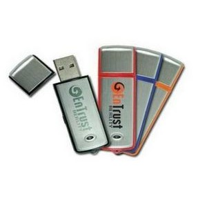 Rectangular Colored 128 MB USB Drive w/Brushed Aluminum Inlay