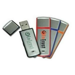 Rectangular Colored 64 MB USB Drive w/Brushed Aluminum Inlay
