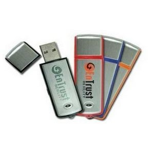 Rectangular Colored 256 MB USB Drive w/Brushed Aluminum Inlay