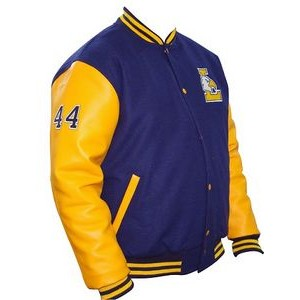Varsity jacket of leather and wool