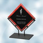 Custom Red Galaxy Acrylic Plaque Award with Iron Stand - Small