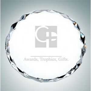 Clear Gem Cut Circle Optical Crystal Paper Weight