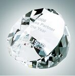 Custom Clear Duet Round Crystal Paper Weight (1 7/8