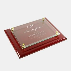 Rosewood Piano Finish Clear Glass Wall Plaque (Large)