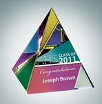 Custom Color Coated Pyramid Crystal Paper Weight - 2 1/8