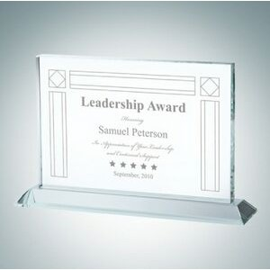 "Horizontal Rectangle Clear Glass Award Plaque (5 1/2"")"