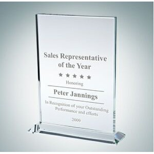 Vertical Rectangle Clear Glass Award Plaque (Large)