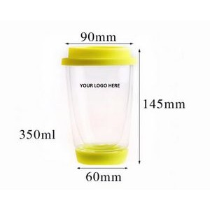 Double Wall Glass Cup w Colorful Silicone Lid 12 oz