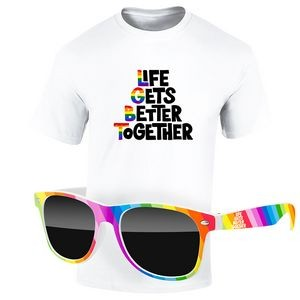 Pride KIT: Full-Color DTG T-Shirt (Light Colors) & Rainbow Sunglasses