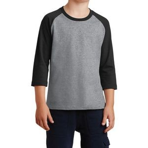 Port & Company� Youth Core Blend 3/4-Sleeve Raglan Tee