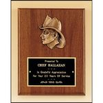 Custom Fireman Award with Antique Bronze Finish Casting. 8x10
