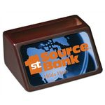 Custom 4 x 3 Mahogany Business Card Holder with Full Color Insert