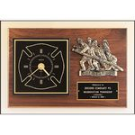 Custom Fireman Award Clock with Antique Bronze Finish Casting. 12 x 18